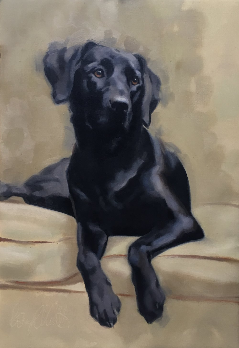 Black Labrador, Lola. Oil on canvas.