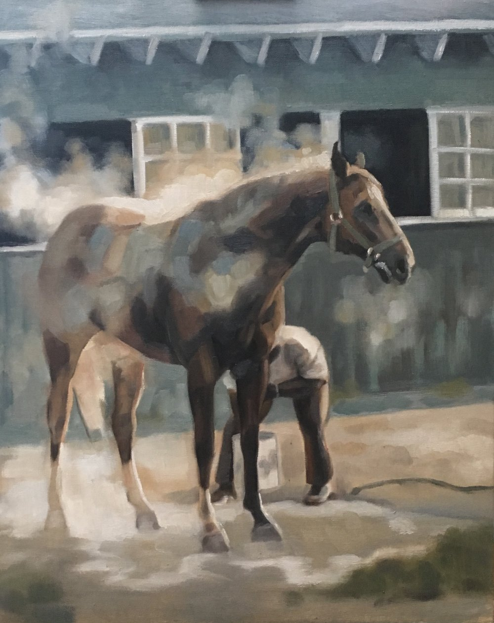 Washing off a hot horse. Oil on board