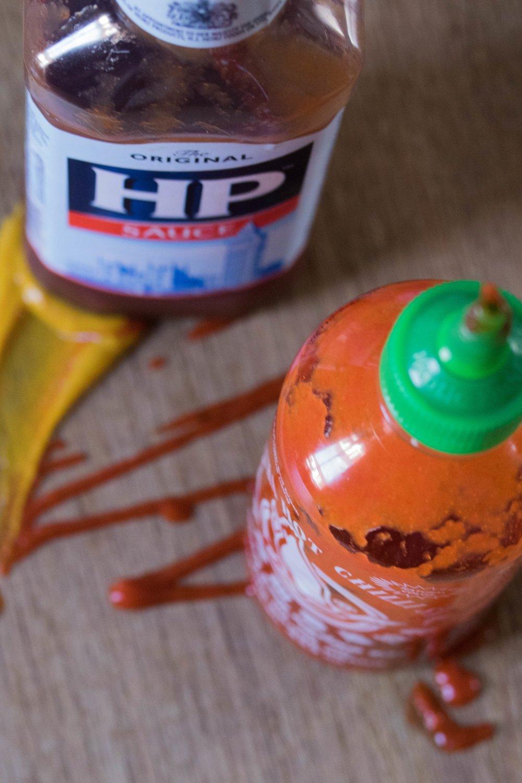 Desert Island Condiments - Mustard (English, obvously)HP sauceSiracha