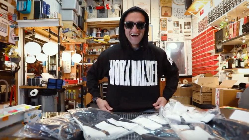 YouTuber Casey Niestat wearing his merchandise.