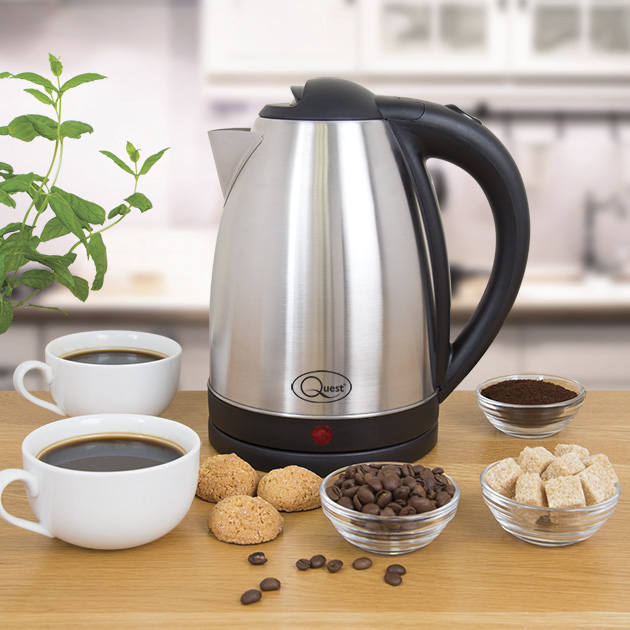 1.8L Stainless Steel Kettle - Powerful 2200W brushed stainless steel kettle with a water indicator & push button lid.