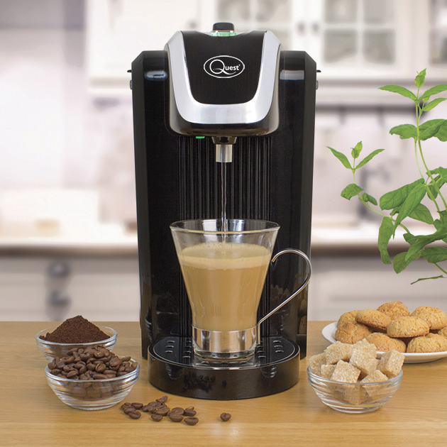 Black Instant hot water dispenser with a coffee cup