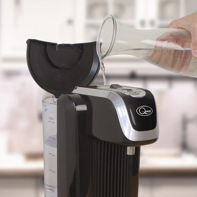 Black Instant hot water dispenser lid open