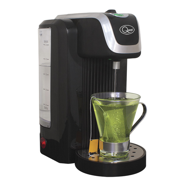 Black Instant hot water dispenser and cup of tea