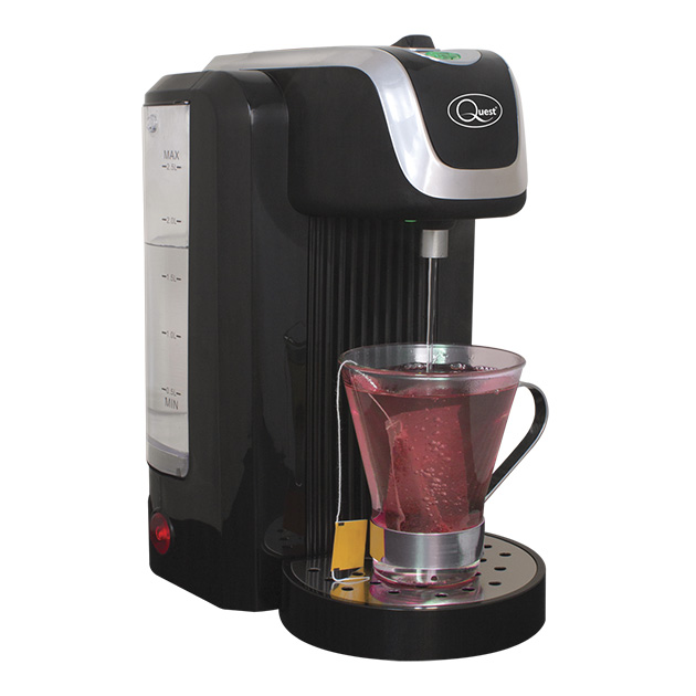 Black Instant hot water dispenser with a cup