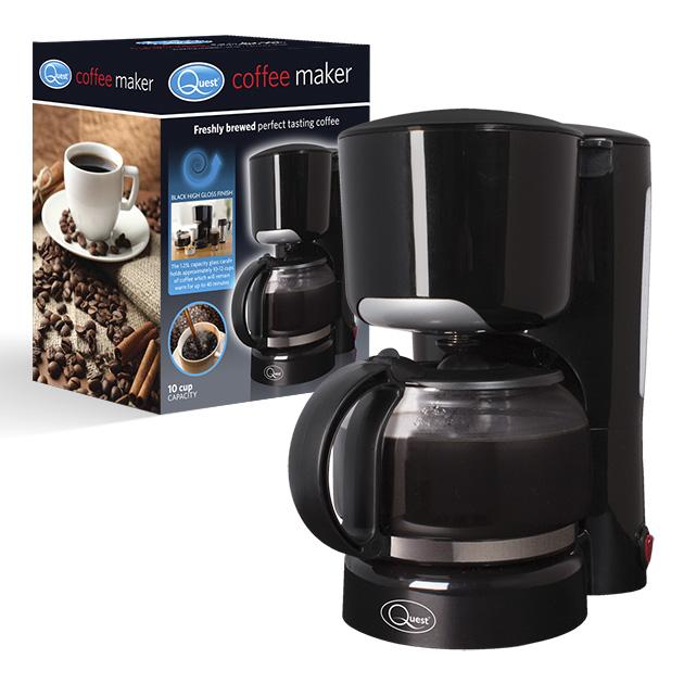 Black coffee maker and box