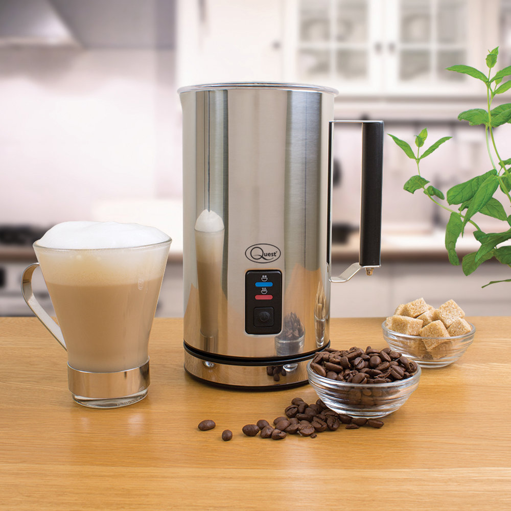 Stainless Steel Milk Frother and coffee with froth