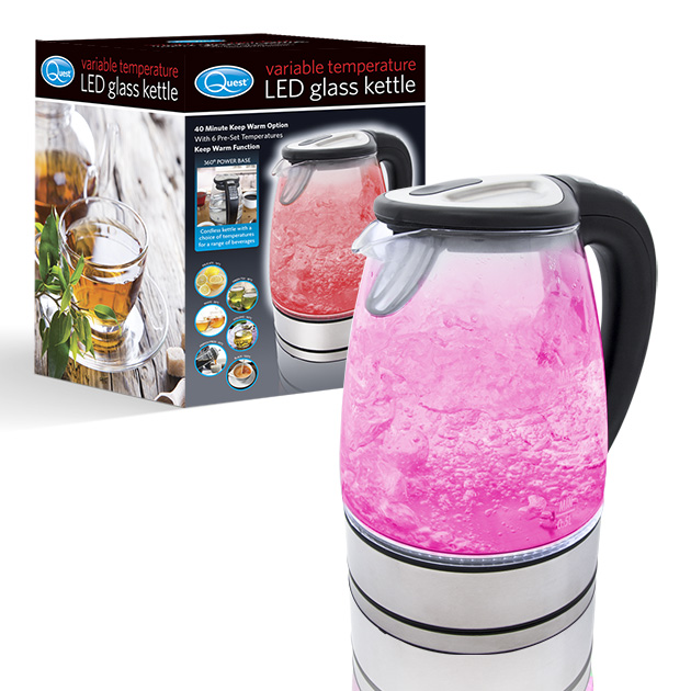Variable Temperature LED Glass Kettle and box
