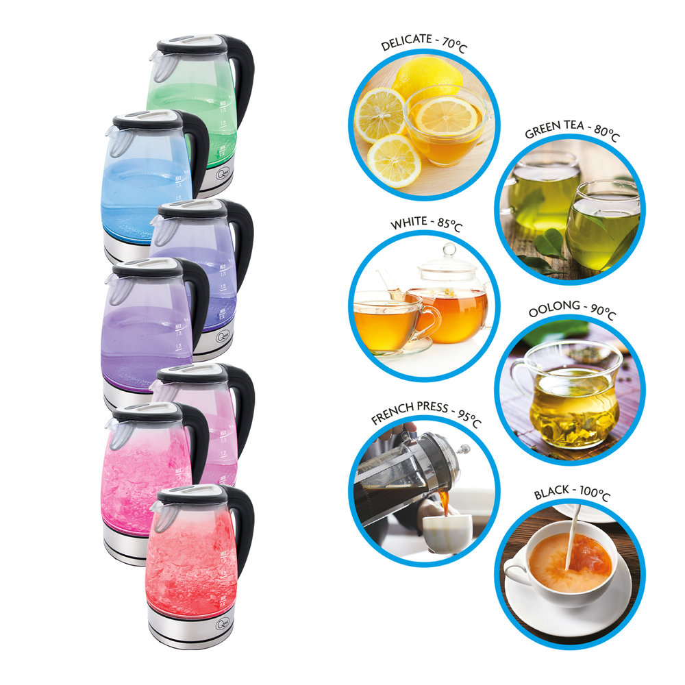 Variable Temperature LED Glass Kettle colours
