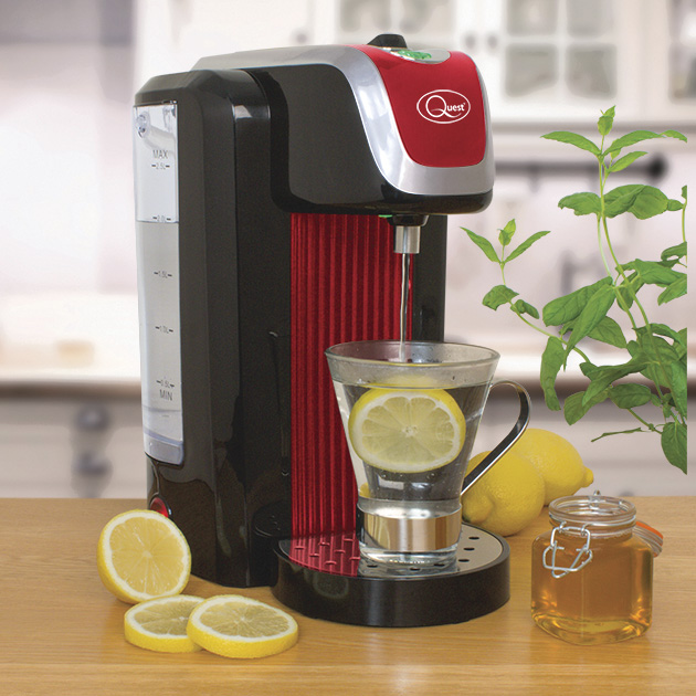 Red Instant hot water dispenser and a hot water with lemon glass