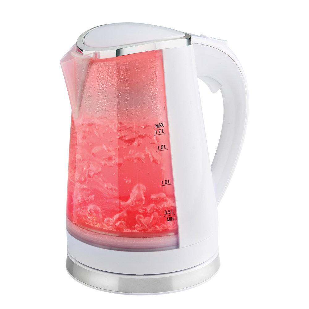 White Dual LED Illuminated Kettle Red