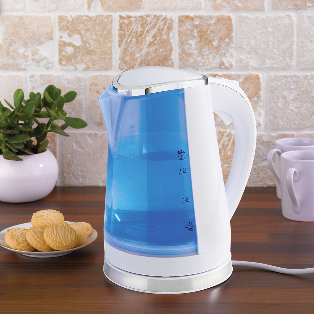 White Dual LED Illuminated Kettle blue in the kitchen