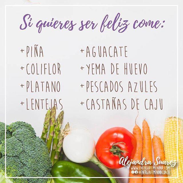 Estos alimentos son ricos en triptofano, que te ayudará en la producción de serotonina,  la responsable de la sensación de bienestar y felicidad. ¡Sé más feliz! Feliz día! 🌺🌺