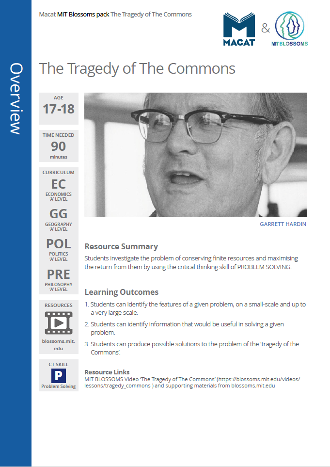 Economics    Also suitable for geography, politics and philosophy   The Tragedy of The Commons   Download >