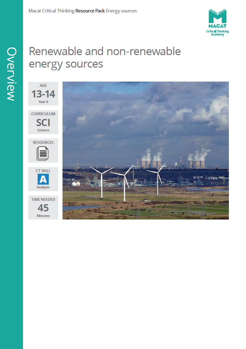 Science   Renewable and non-renewable energy sources   Download >