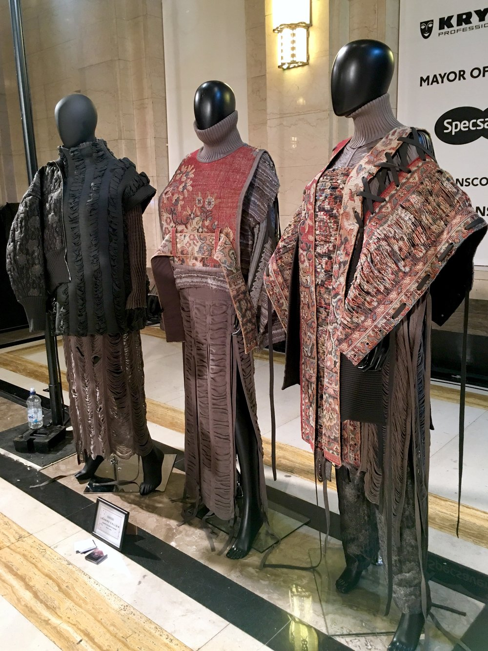 leanne callon - London College of Fashion@leanne_callonAnother sober palette, this time in tones of rust and mink, were woven into this collection of polo neck knit dresses and laced up tapestry tabards that were layered over top to create an almost ecclesiastical robe-effect.