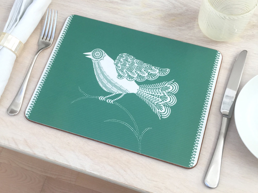 29x21cm small Doves Green place mat