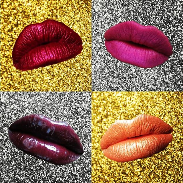 Four statement lip looks to make your smackers stand out while you party 2017 away. Swipe for close ups.  #NYE #metallicmatte #neonpink #shimmerynude #darkgloss  Click link in bio or visit beautyliterate.com for products used.