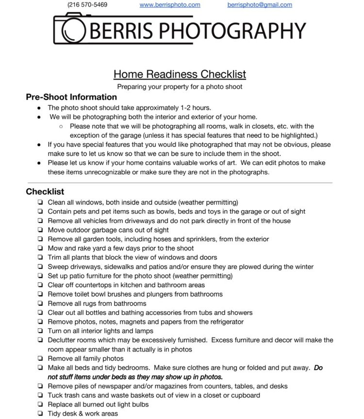 Home Readiness Checklist Berris Photography Service