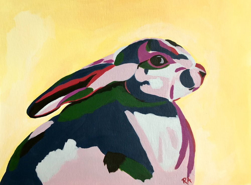 Modern Rabbit, acrylic on paper, 2016