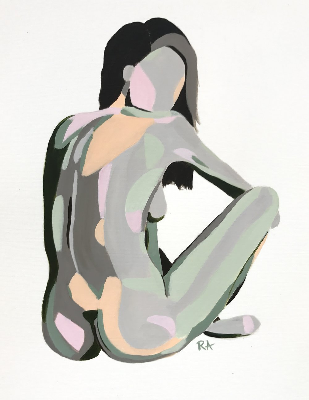 Over the Shoulder Nude, acrylic on paper, 2016