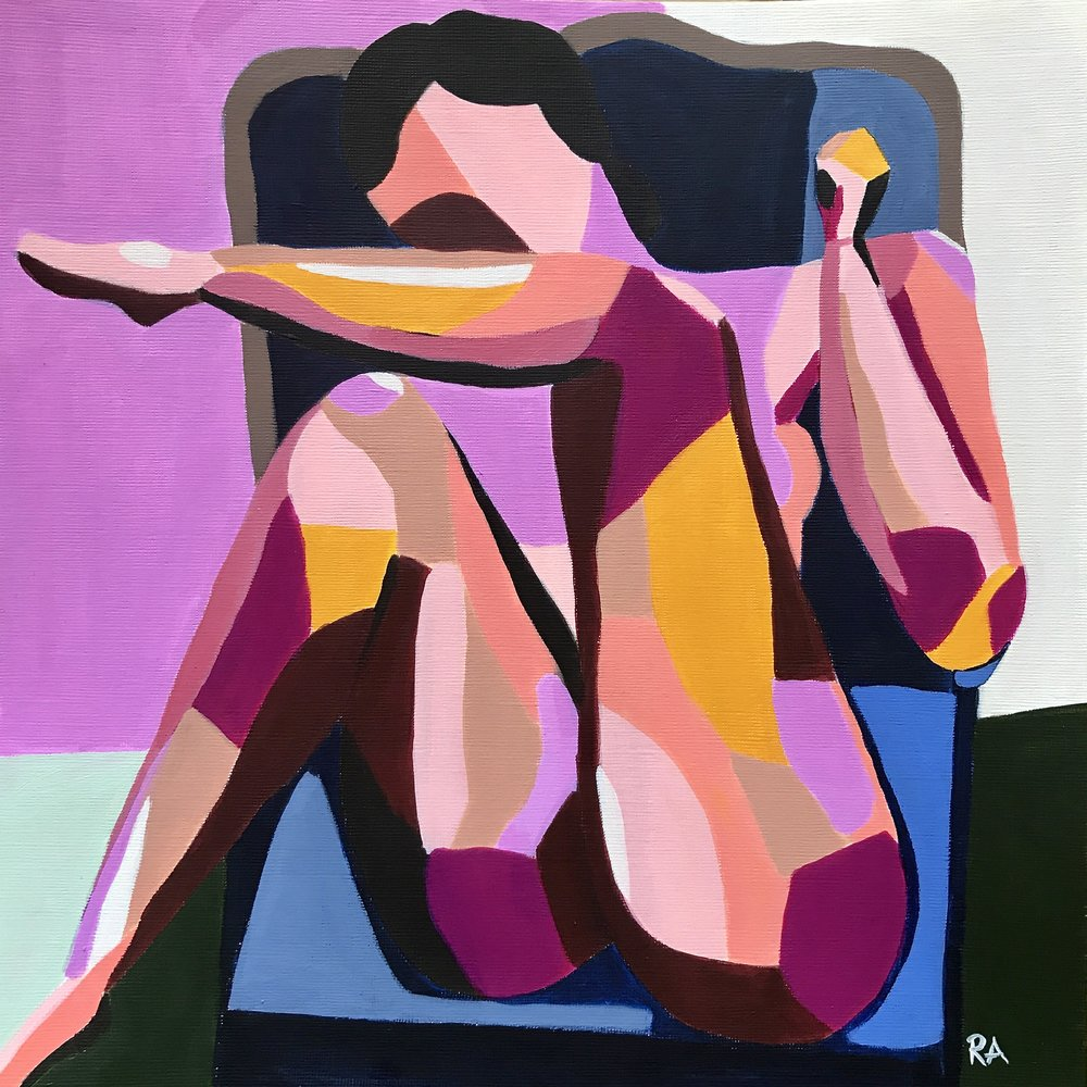 Nude Woman in Chair - Giving zero effs.12x12, $125