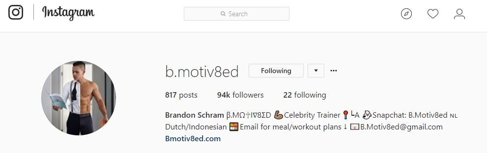 @b.motiv8ed  AKA Brandon Schram is an example of an influencer with a pretty powerful voice for having less than 100k followers. He is known for being a celebrity trainer, working with the likes of J-Lo, The Game, Prince Royce, among many others.