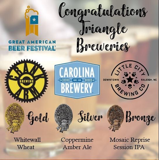 So proud to have THREE Triangle breweries bring home medals from the 2018 GABF awards this past weekend! Congratulations! . . .  #trianglebeer #gabf #awards #medals #goforthegold