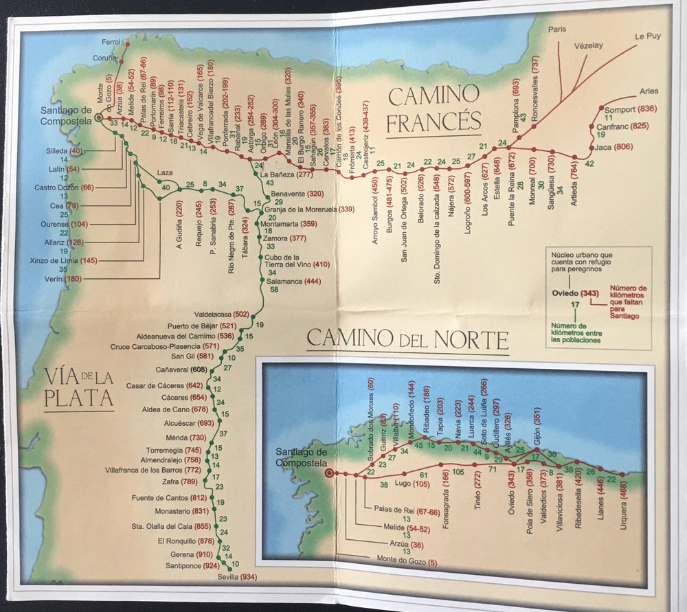 This is a photo of the map included in my Pilgrim Passport. Note the distances of each city from Santiago as well as the distances to the next city. These maps typically only mark major stops, you would usually have sleeping accommodations in small towns between the major cities as well.
