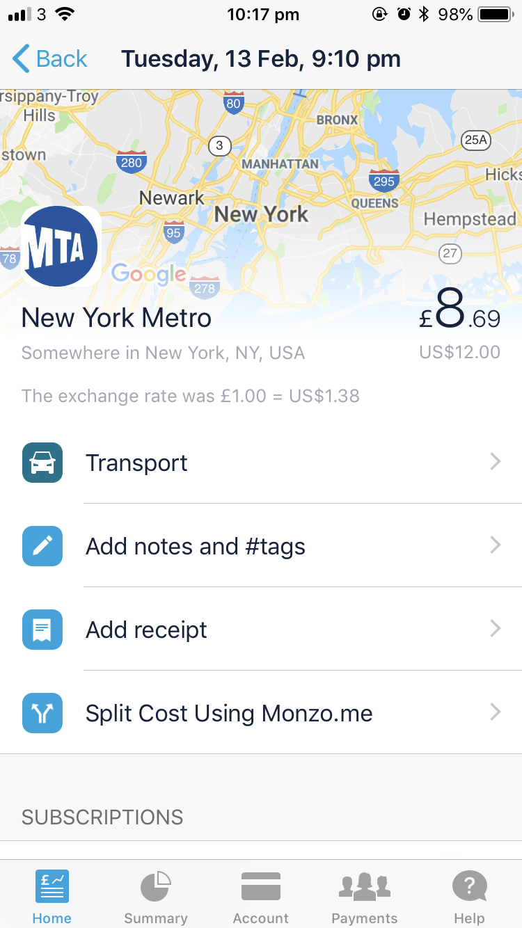 Transaction Breakdown - First started using the card in New York!