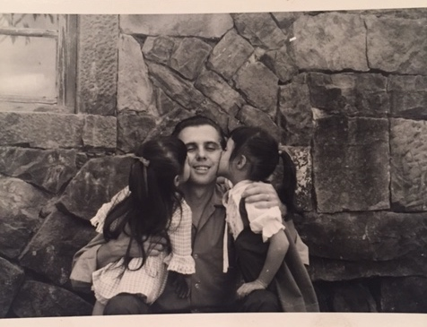Loving on Daddy, 1969. Tonia is left, Ruth is right