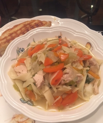 Chicken Noodle Soup with Mashed Potatoes