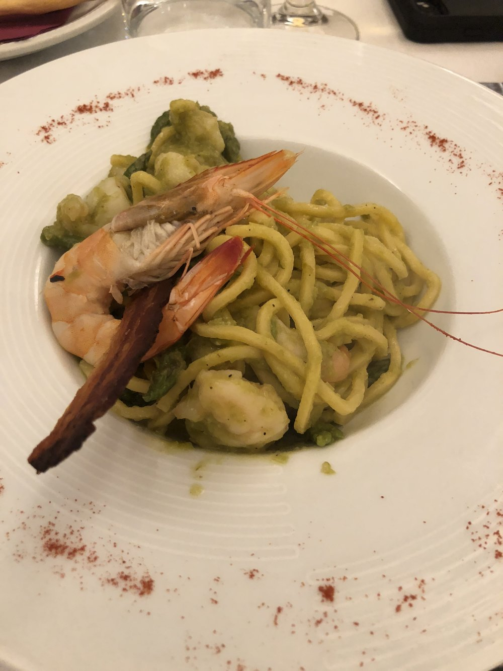 prawns with fresh pasta