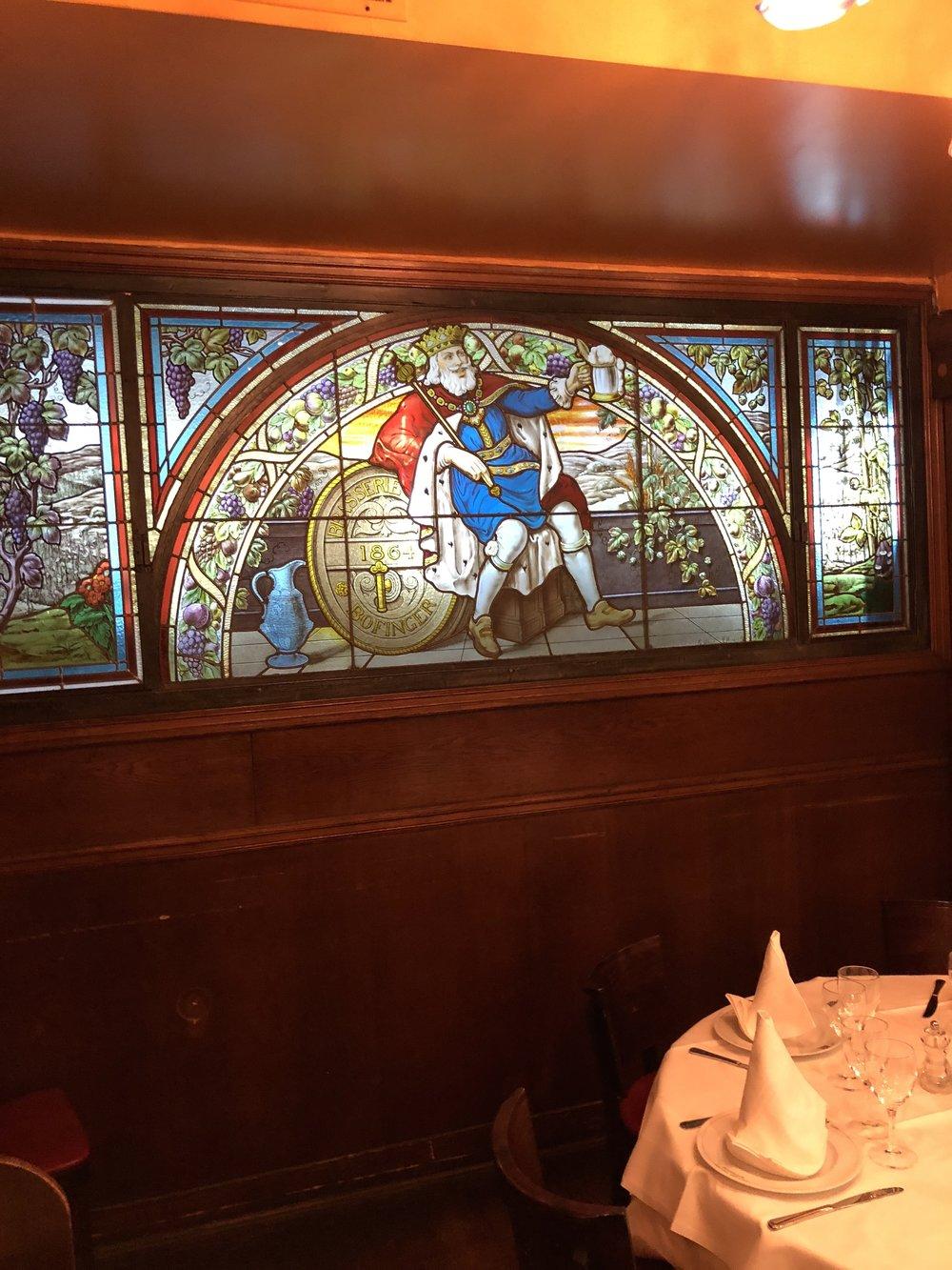 famed stain glass at Bofinger