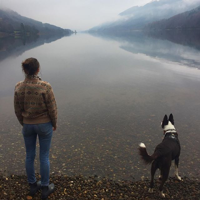 💎🏴The beautiful Loch Voil in Balquhidder capturing the attention of these two today. The rolling mist this afternoon every so often revealled the snowy peaks of Creag Mhor and beyond.🏔As usual first class hospitality and exquisite food from @themhorcollection at Monachyle afterwards. 🔥A cosy wee nook next to an open fire made it very difficult to get on the road back to Glasgow(!)🛣🚐 _______________________________________ #ecotourscotland #tourscotland #scotland #scottish #highlands #scottishhighlands #loch #scotspirit #scotlandisnow #landscape #landscapelovers #mountains #instascotland #insta_scotland #highlandcollective #hiddenscotland #reflection #fairisle #wanderlust #adventure #explore #thegreatoutdoors #scotlandsbeauty #beautifuldestinations #dog #ecosse #escocia #scozia #schottland #roamresponsibly