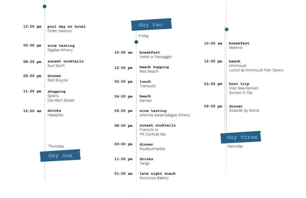 Santorini travel schedule