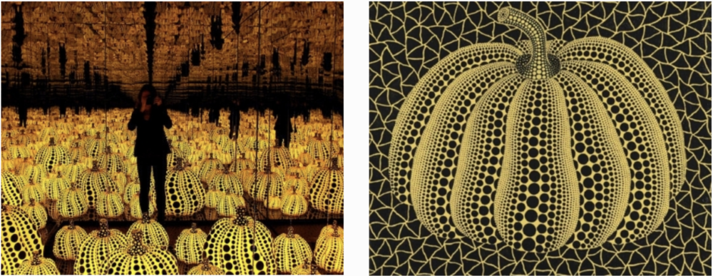 Yayoi Kusama's All the Eternal Love I Have for the Pumpkins (Left image from    here ). Pumpkin by Yayoi Kusama, 2001 (Right image from  here ).