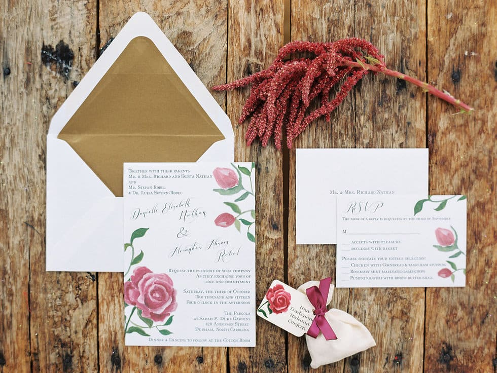 Marsala invitation suite