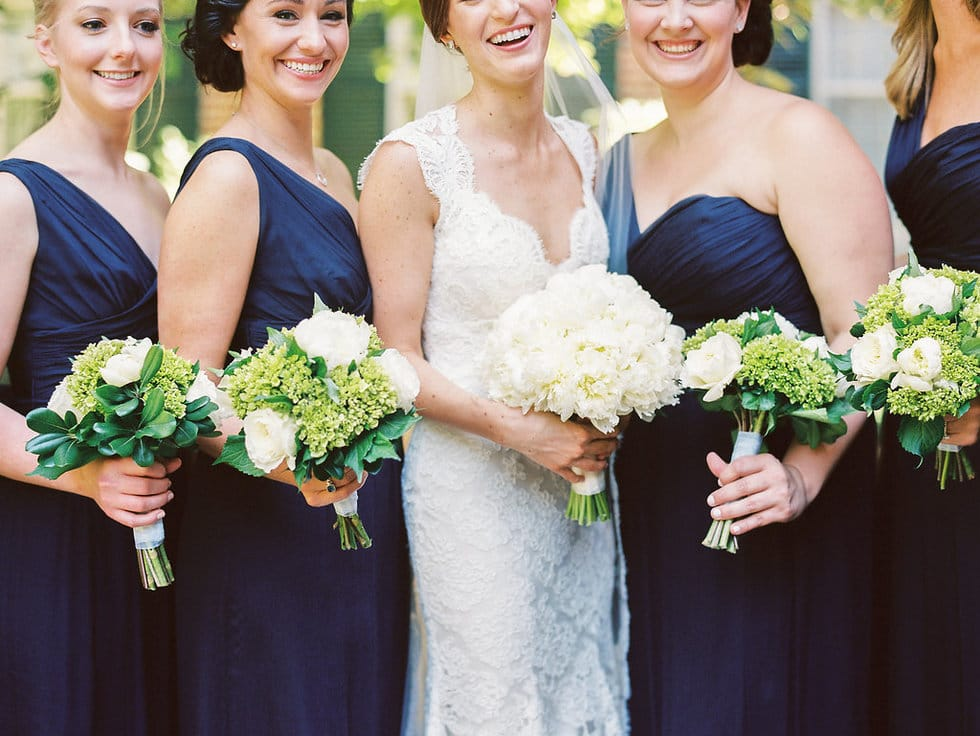 One-Shoulder Navy Bridesmaids