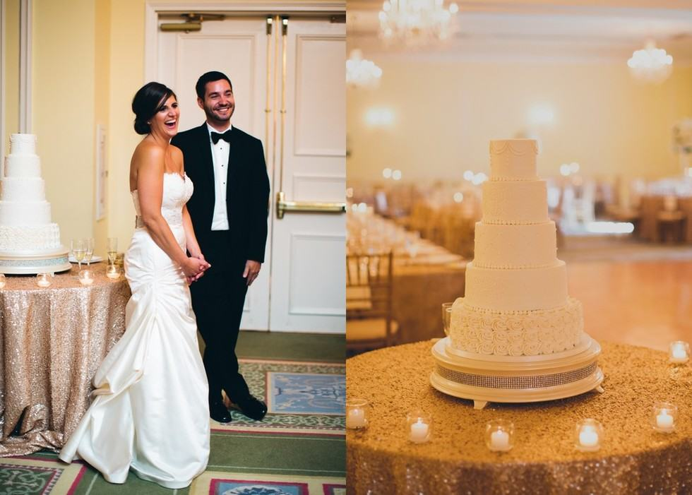 simple wedding cake - champagne sequin