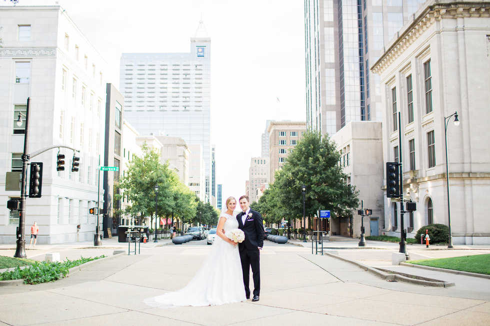 Downtown Raleigh Bride and Groom