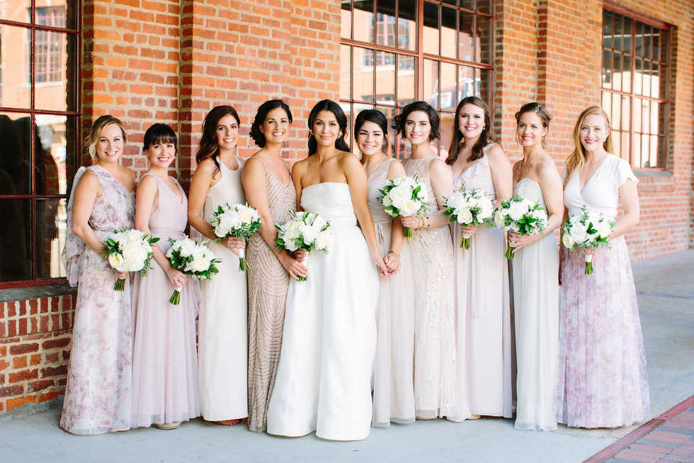 Mix and match bridesmaids dresses from BHLDN
