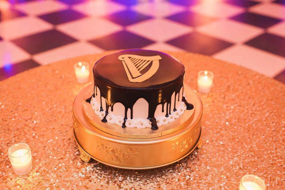 Gold Grooms Cake Design