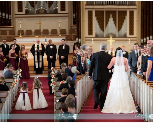 Wedding ceremony at University Presbyterian Church in Chapel Hill, NC