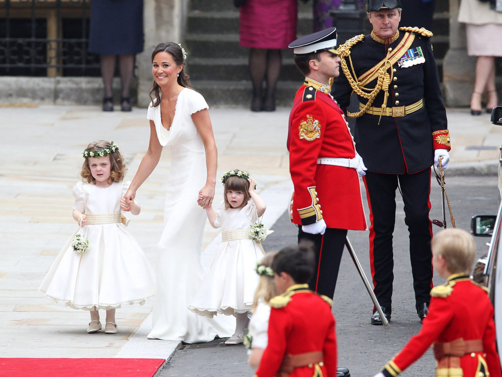 Philippa Middleton with bridesmaids arriving at Westminster Abbey for the Royal Wedding of Prince William and her sister Kate Middleton