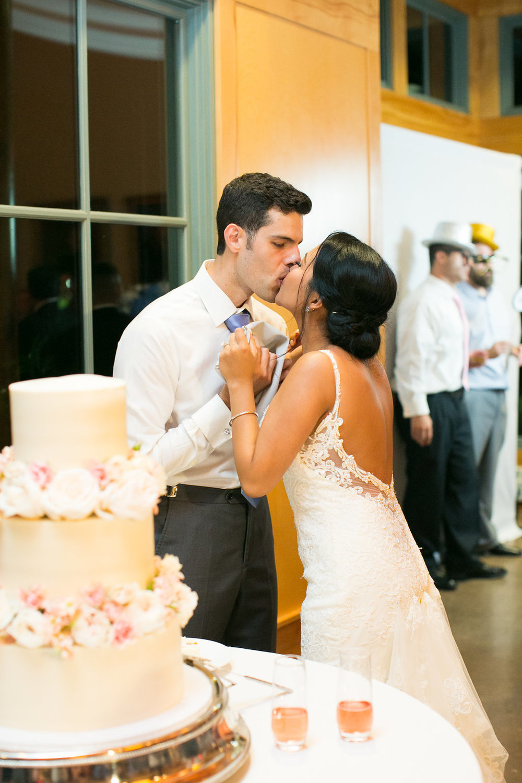 Bride and Groom Cake Cutting at Duke Gardens wedding