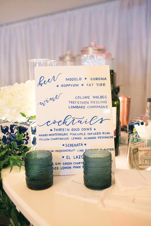 Signature Drinks Written on Tile
