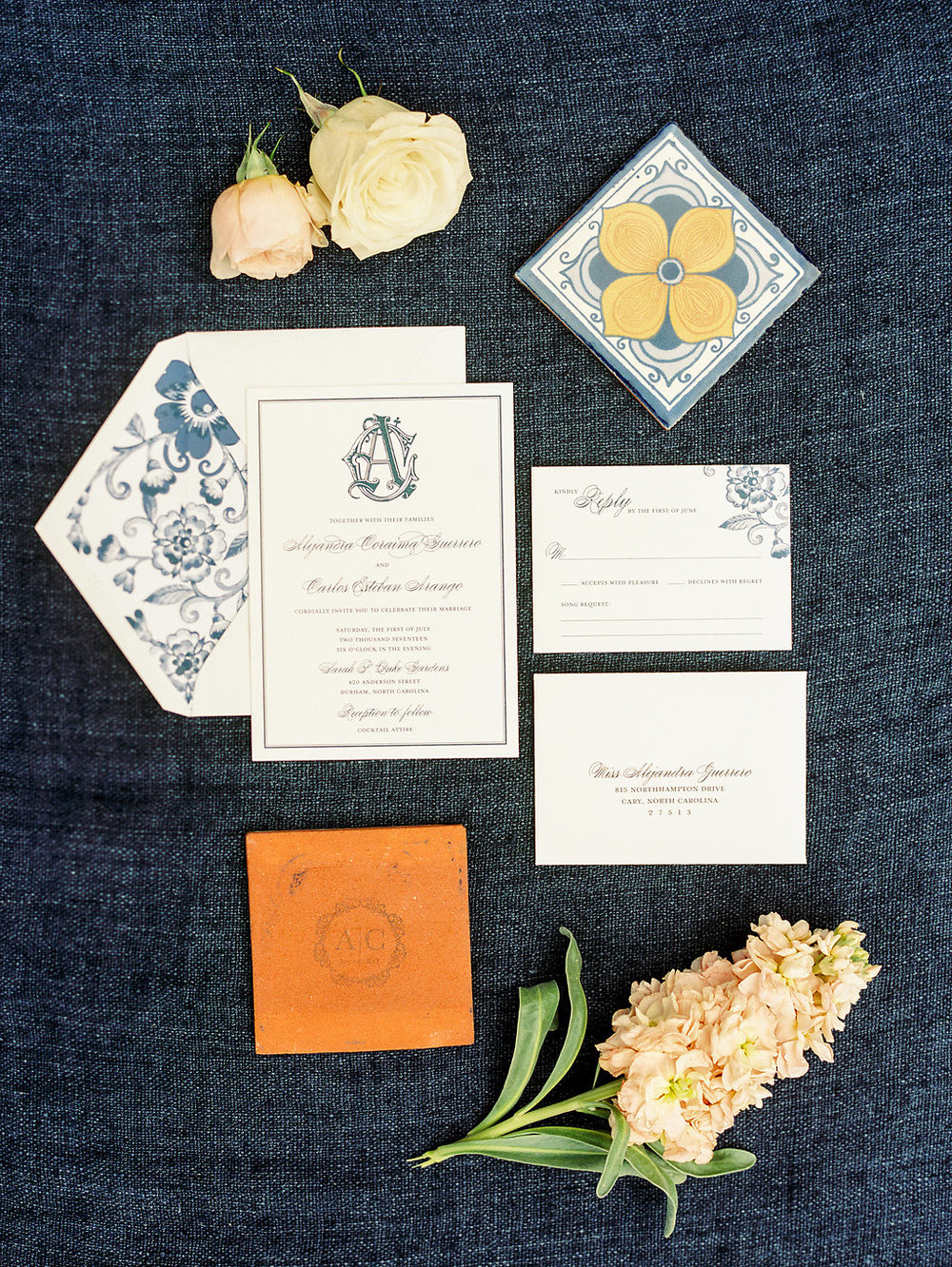 Blue and White Mexican Columbian wedding Invitation