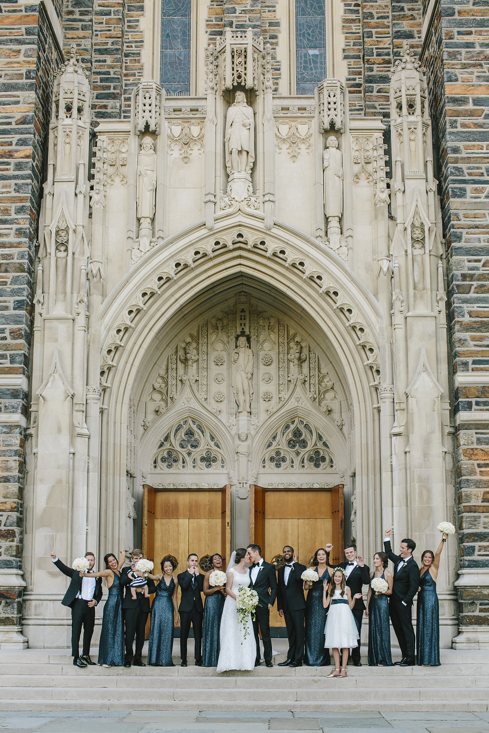 Wedding party in front of Duke Chapel