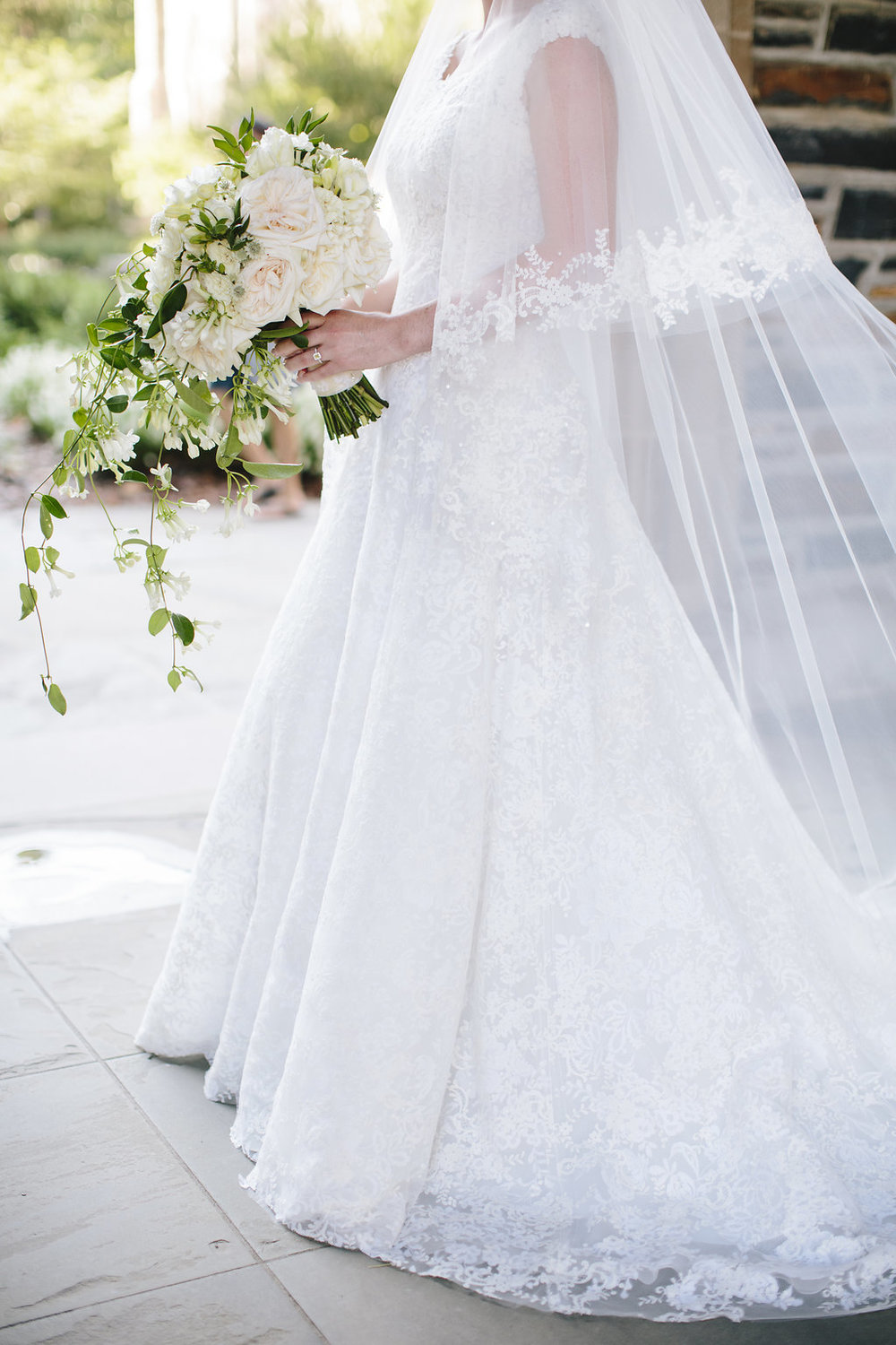 Bride in classic lace wedding gown with veil
